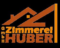 Logo der Zimmerei Huber GmbH - Zwei Dächer über Schriftzug
